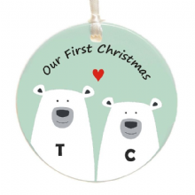Personalised Polar Bear Couple First Christmas Tree Decoration - Personalized Ceramic Christmas Tree Bauble - Holiday Ornament